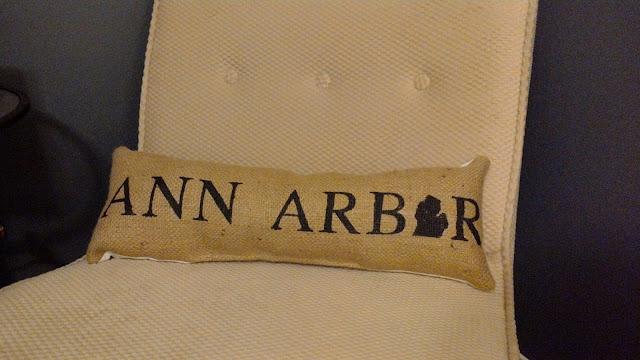 Ann Arbor burlap lumbar pillow - handmade in Michigan - www.linaandvi.etsy.com]