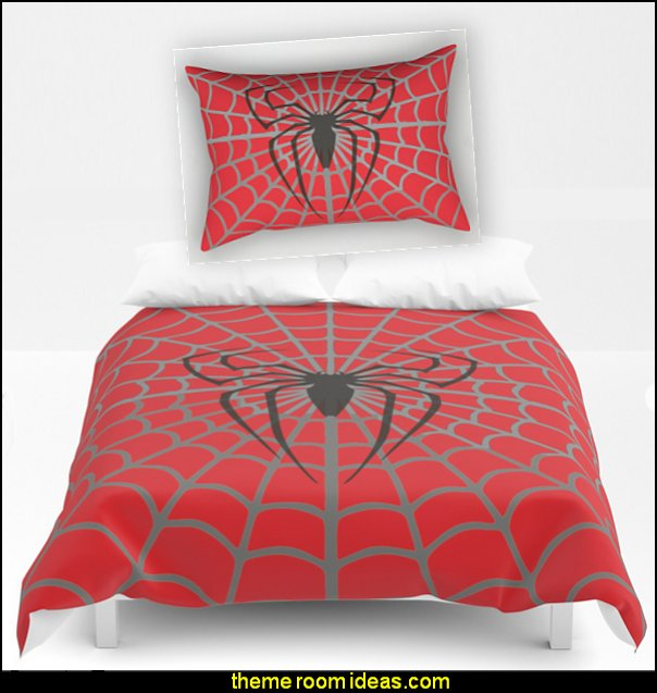 Spidey bedding  spiderman bedroom decorating ideas - spiderman room decor - Spiderman rooms - superhero bedrooms - Spider web curtains  - spiderweb bedding - Marvel Heroes wall murals -  Avengers wallpaper murals -  superhero theme bedrooms