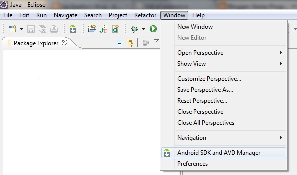 Eclipse Android SDK and AVD Manager