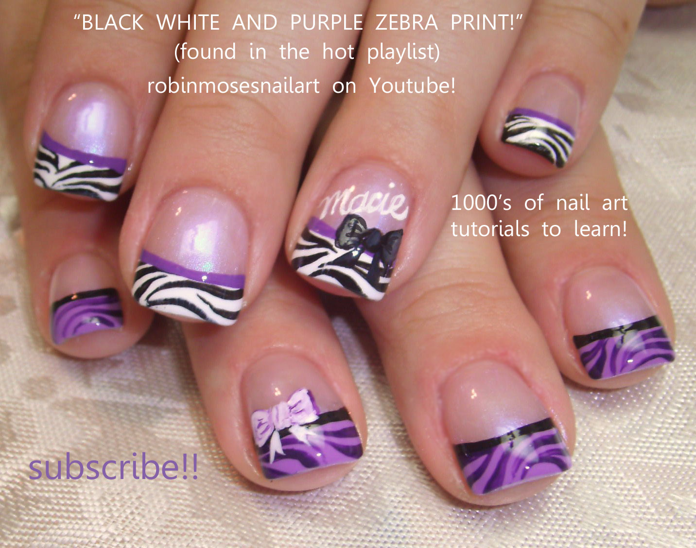 Robin Moses Nail Art: zebra nails, purple zebra nails