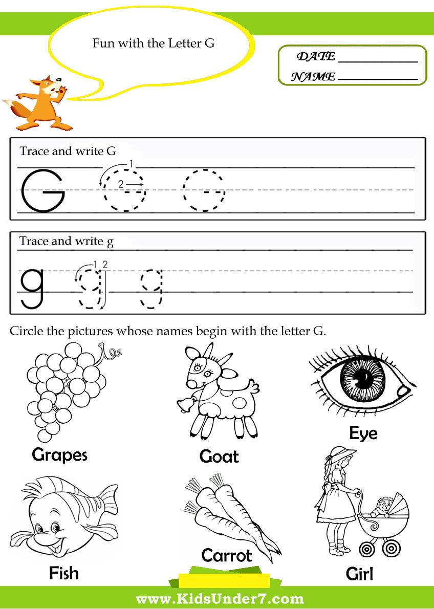 Workbooks letter g printable worksheets : Kids Under 7: Alphabet