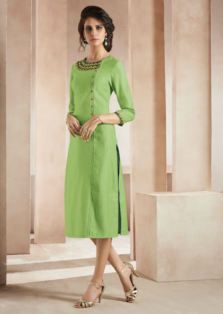 Light Green Long Cotton Kurti