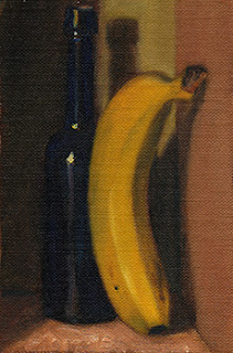 Oil painting of an antique blue castor oil bottle beside a banana stood on its end.