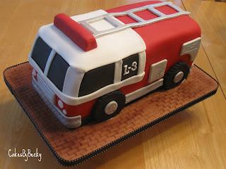 Becky Firetruck Birthday Cake