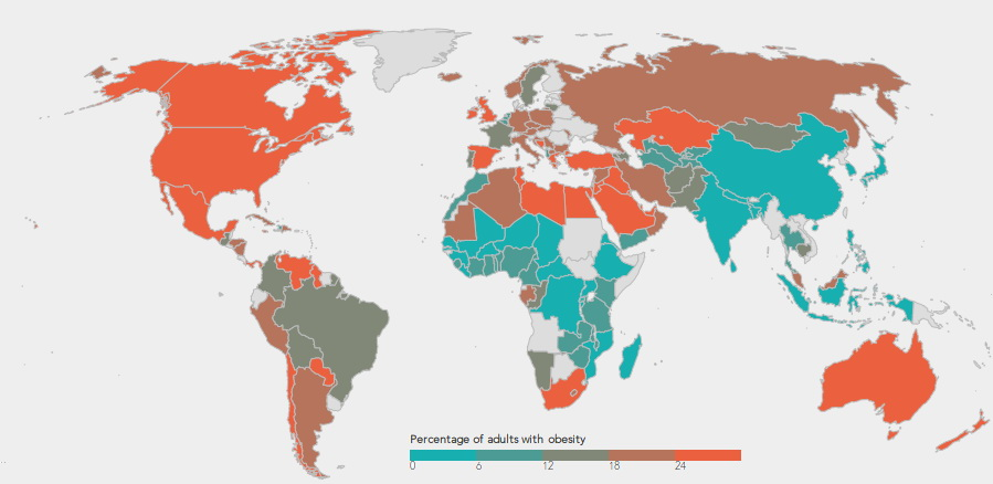 Percentage of adults with obesity