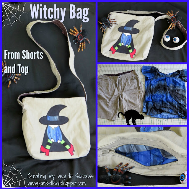 Witchy Bag Upcycled from Shorts