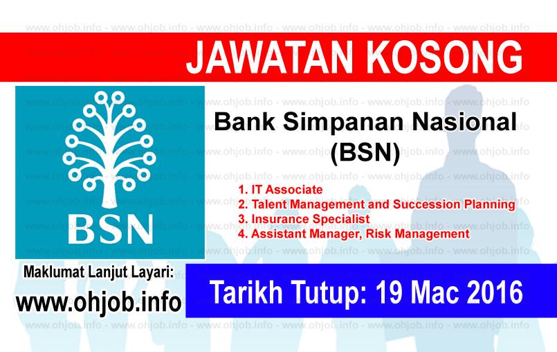 Jawatan Kerja Kosong Bank Simpanan Nasional (BSN) logo www.ohjob.info mac 2016