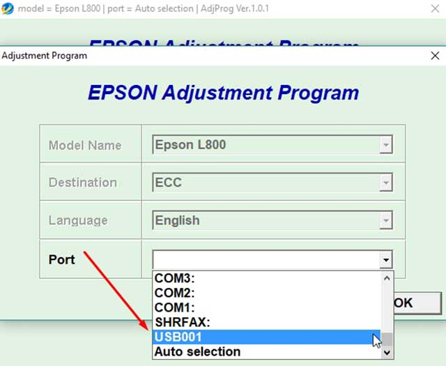 seleccionar puerto de la impresora epson l800