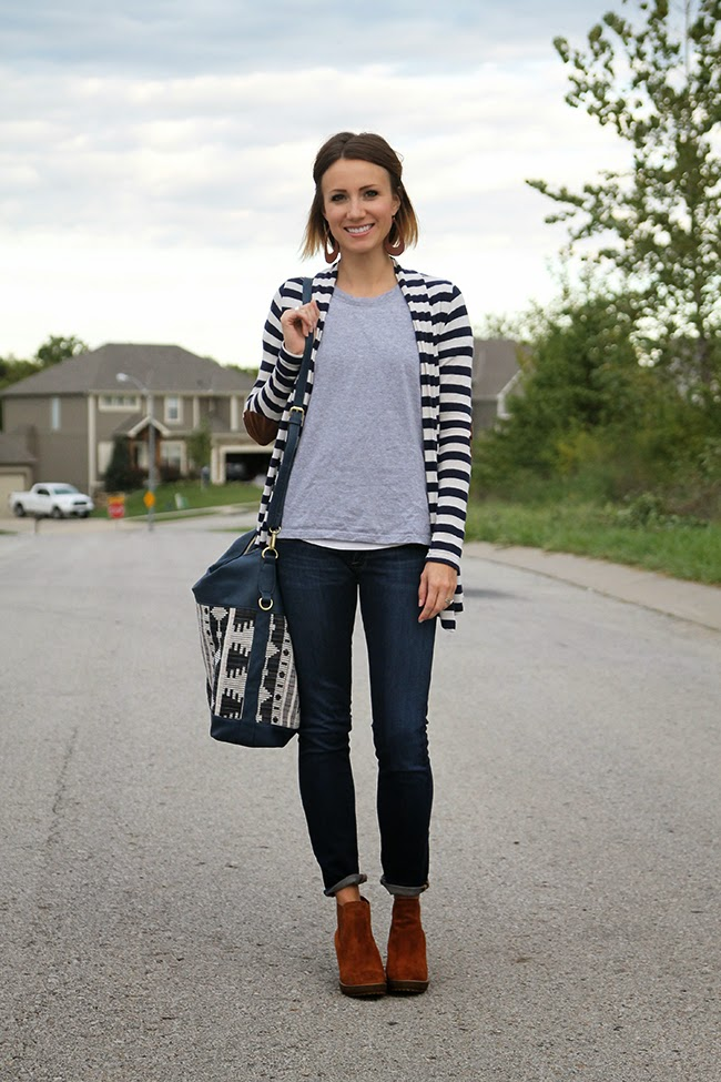 Gray tee, striped cardigan, dark denim and ankle boots
