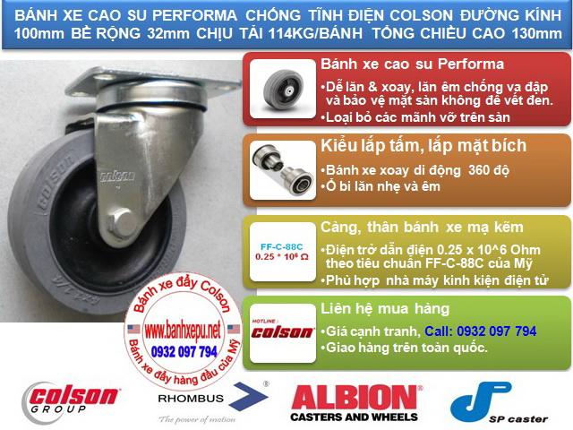 Bánh xe chống tĩnh điện Colson Mỹ càng xoay phi 100 | 2-4646-445C www.banhxedayhang.net