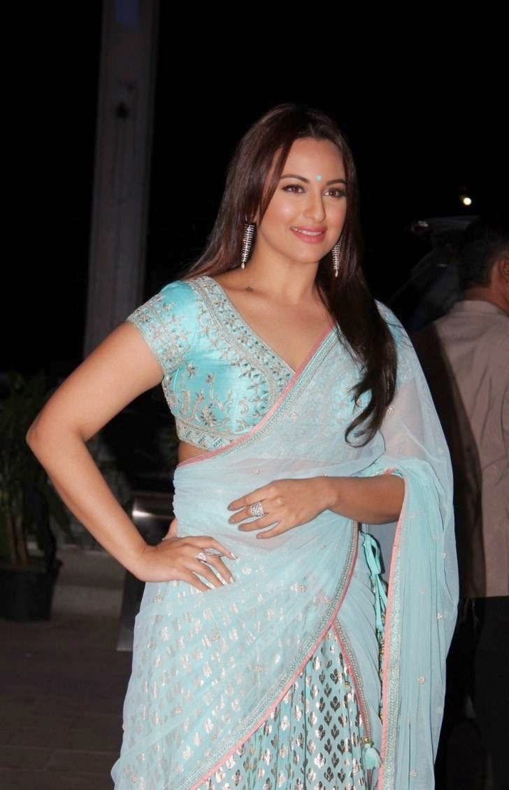 Actress Sonakshi Sinha Hot Stills In Blue Saree ...