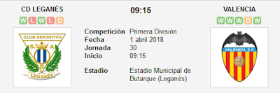 Leganés vs Valencia en VIVO