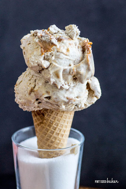 4 Ingredient Horchata Ice Cream spiked with a ribbon of dulce de leche running though it. It's so good!