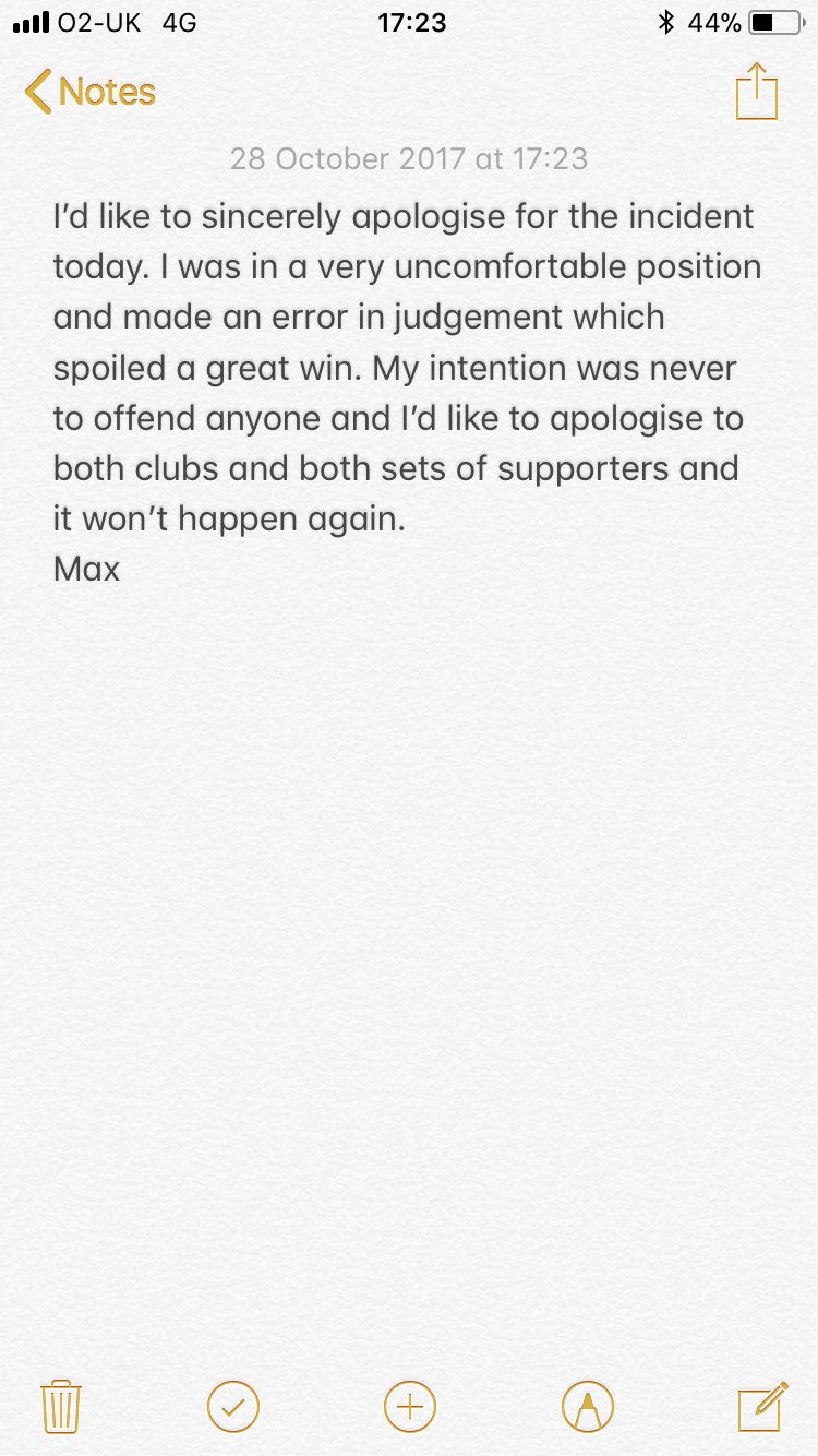 Salford goalkeeper Max Crocombe apologises for his behaviour