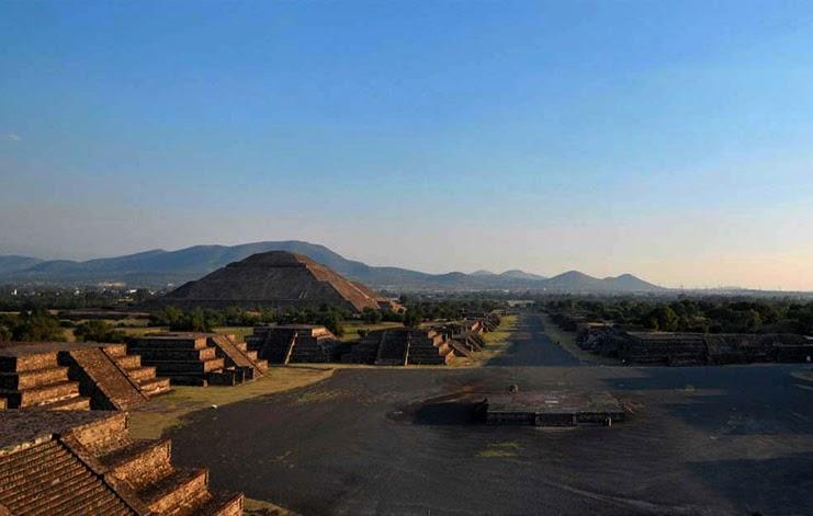 imagen aerea del sitio arqueológico Teotihuacan