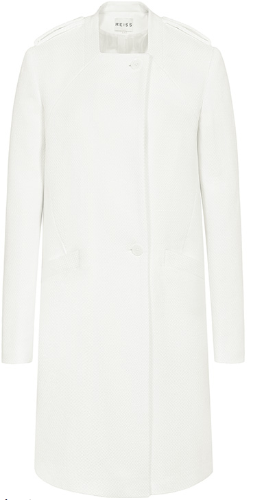 Back Detail, Button Up, Coat, Epaulettes, Gathered, Lucy Mecklenburgh, Off White, Pocket Detail, Reiss, Square Neckline, Tailored, Textured, The Only Way Is Essex, TOWIE,