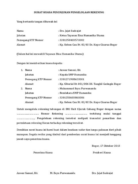 contoh surat kuasa penggunaan rekening bank