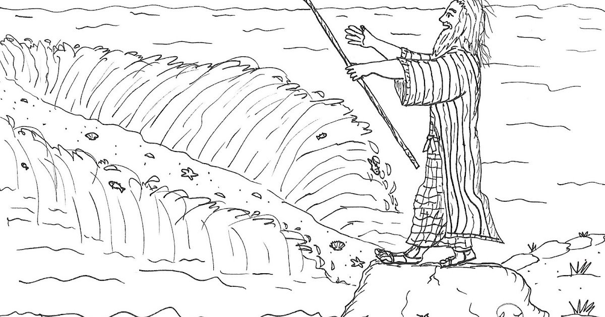 Robin's Great Coloring Pages: Moses Parting the Red Sea