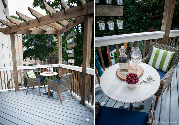 Small Pergola over the deck with table and 2 chairs under it