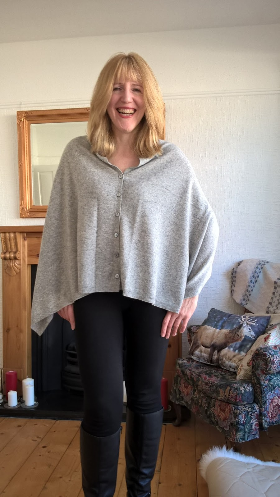 Linda Hobbis wearing Wool Overs Ponch as Cardi - Fashion - Knitwear - motherdistracted.co.uk