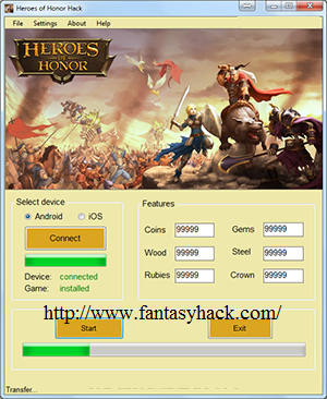 Download Free Heroes Of Honor Game (All Versions) Hack & Cheat Tool Unlimited Coins ,Gems ,Wood , Steel ,Rubies,Crown 100% working and Tested for IOS and Android  MOD, Trainer