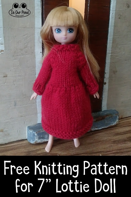 Free Knitting Pattern for Lottie Doll Sweater Dress from In Our Pond