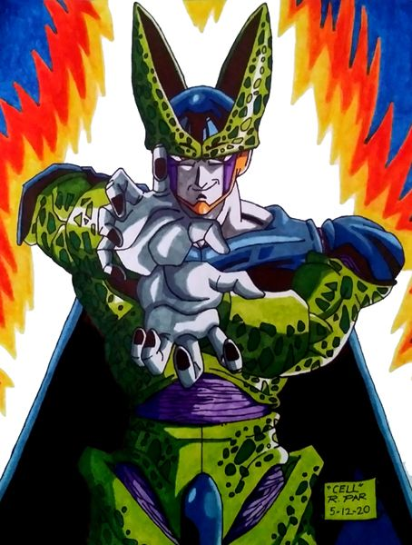 My drawing of 'Perfect Cell' from DRAGON BALL Z.