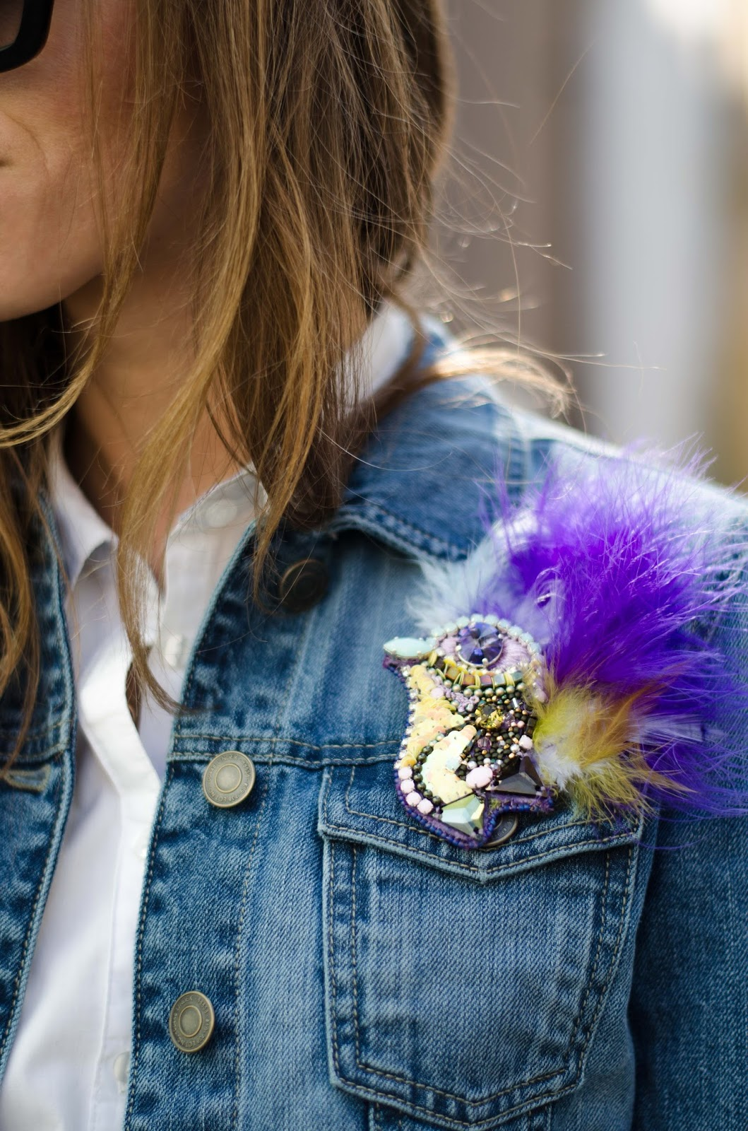 kristjaana mere plum dor embellished feather bird brooch pin