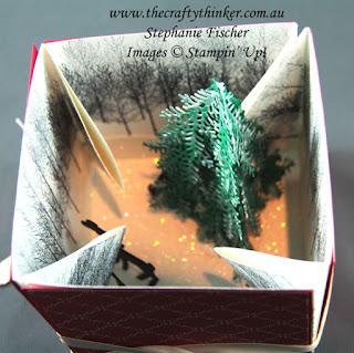 #thecraftythinker  #stampinup  #3dchristmasscene  #christmascard  #cardmaking  #explosionbox  #funfold #winterwoods  #detaileddeer , Christmas card, Explosion Box, 3D christmas scene, Winter Woods, Stampin' Up Australia Demonstrator, Stephanie Fischer, Sydney NSW