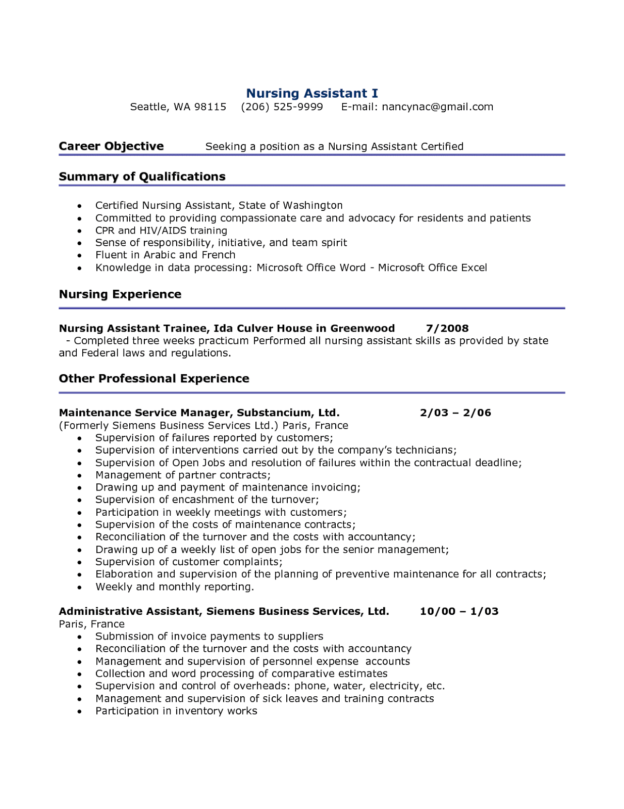 resume sample for nursing assistant