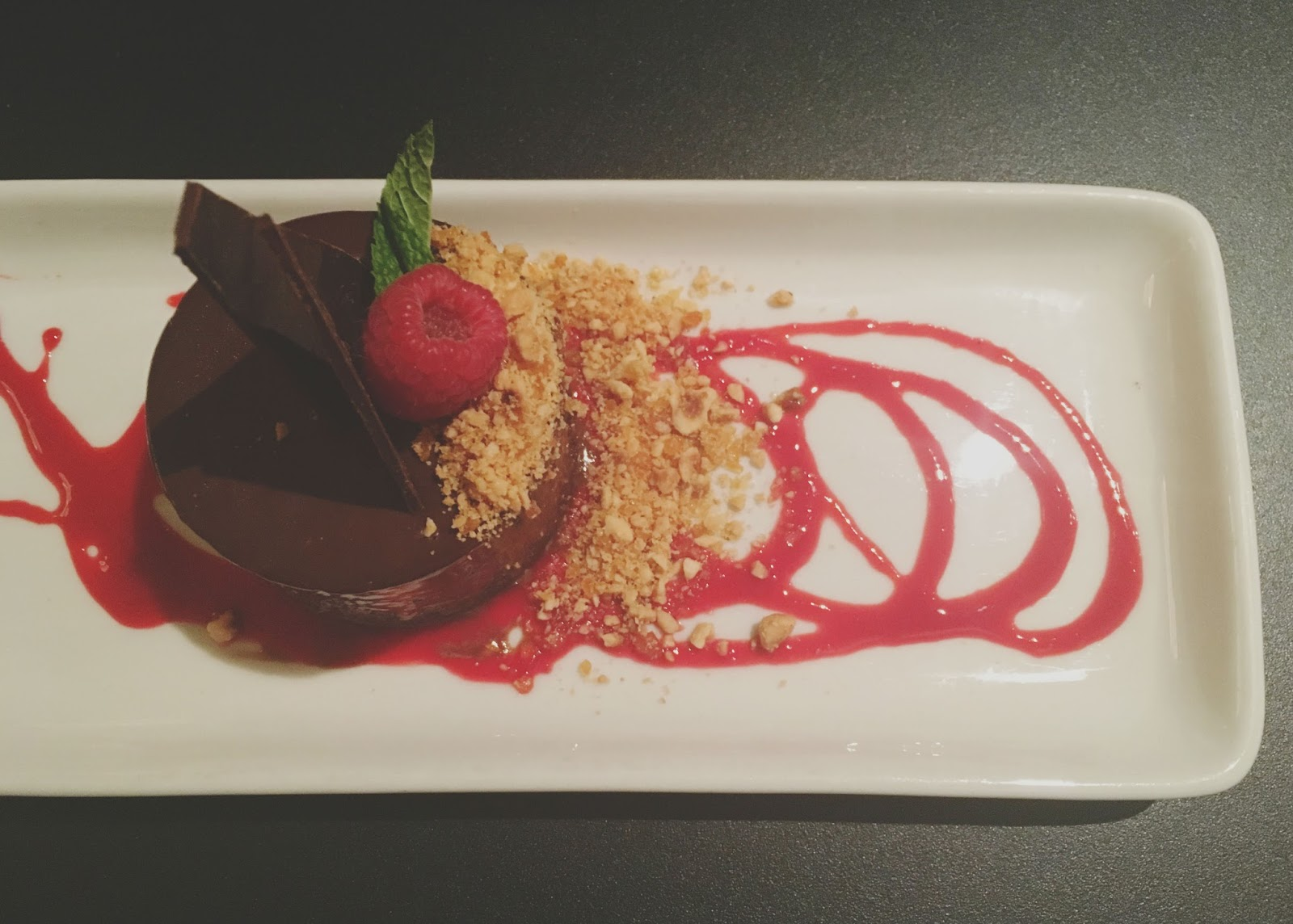 flourless chocolate mousse cake at Shade, a restaurant in Houston, Texas