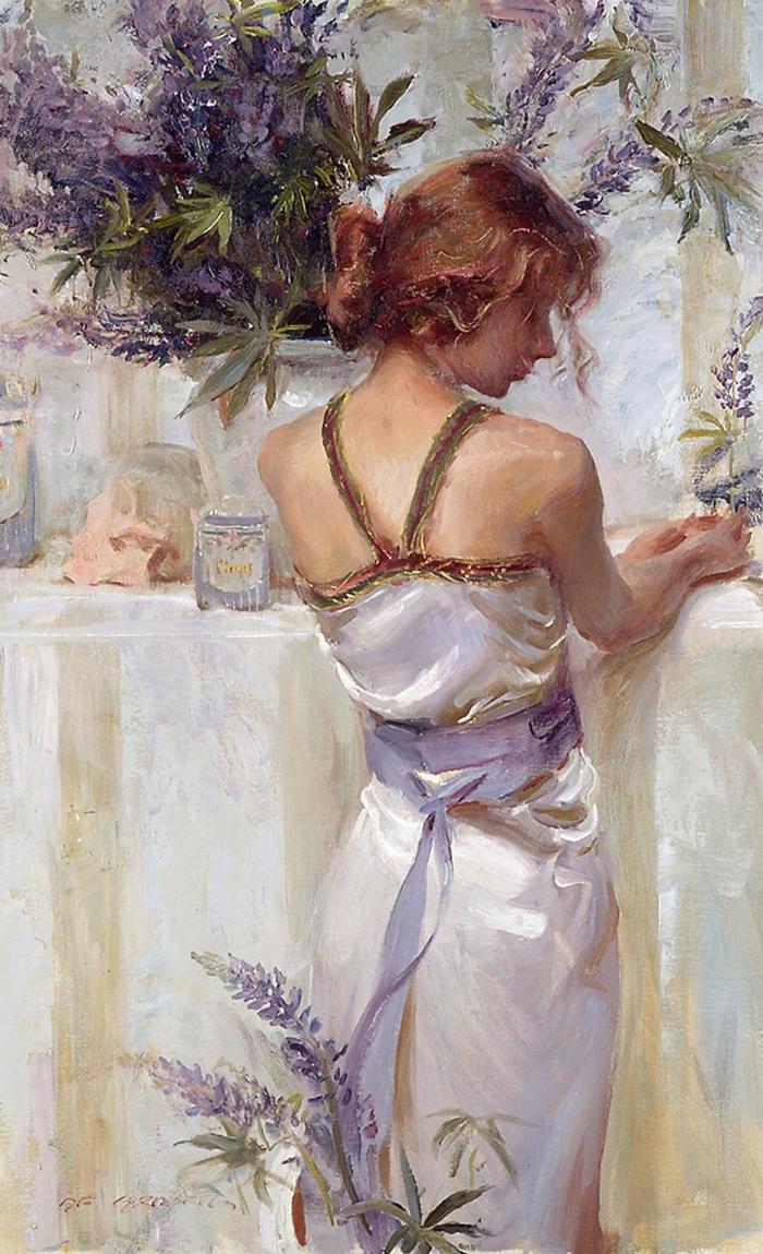 Daniel F. Gerhartz 1965 | American Figurative painter | Women with Flowers