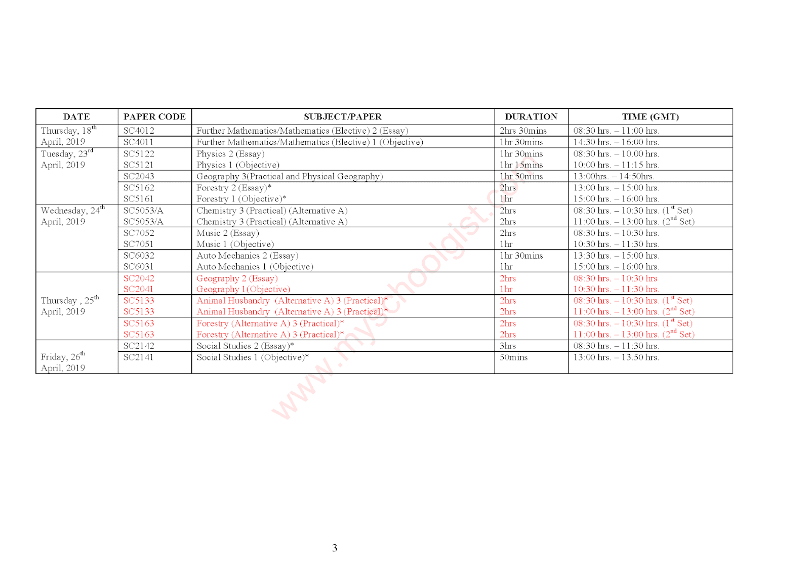 West African Examination Council 2019/2020 time table