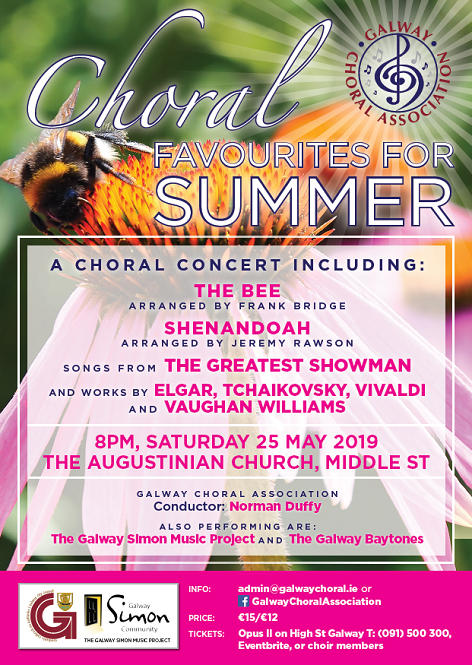 information about a concert in galway in May 2019 featuring a classical choir singing with a homeless support organisation