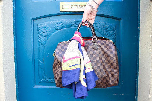 Sac Louis Vuitton Speedy et carré d'Hermès