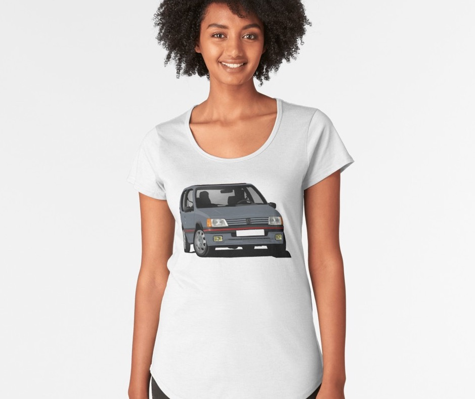 Cornering Peugeot 205 GTi in gray-blue, t-shirt for her
