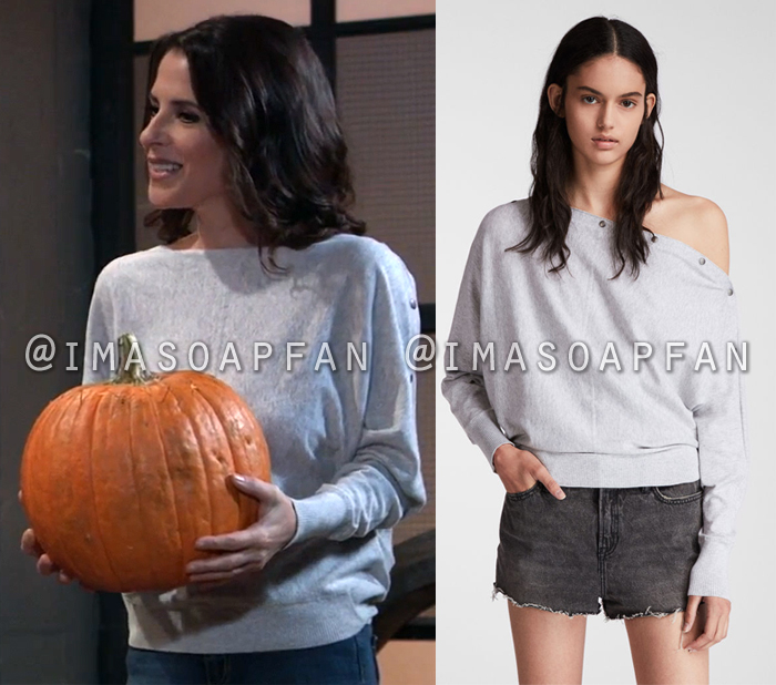 Sam McCall, Kelly Monaco, Light Grey Sweater with Snap Button Neckline, General Hospital, GH