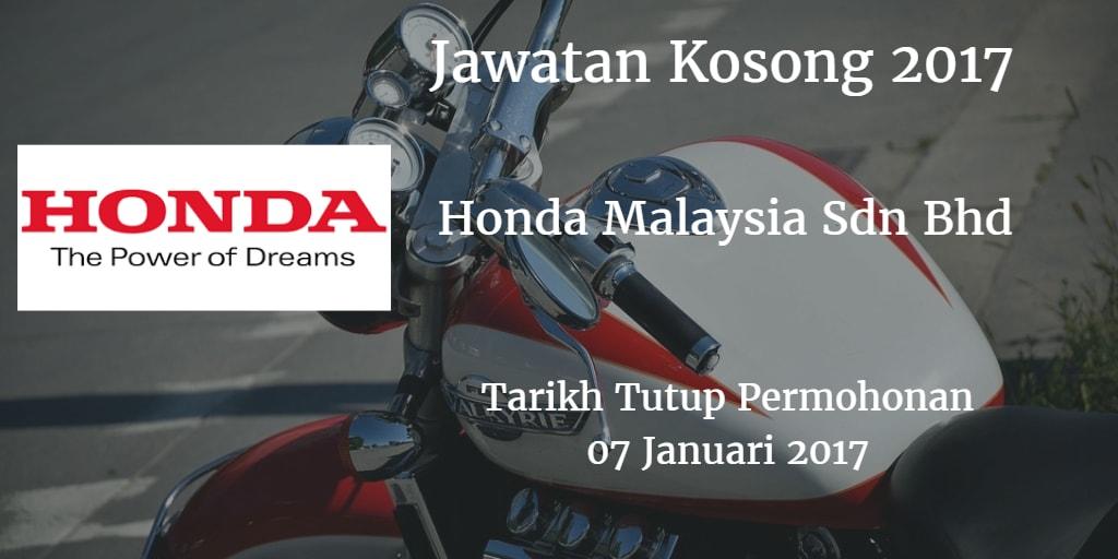 Jawatan Kosong Honda Malaysia Sdn Bhd 07 Januari 2017