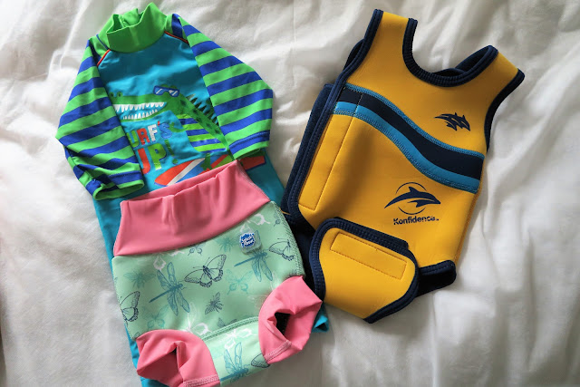Happy Nappy, swim suit and Konfidence swim wrap