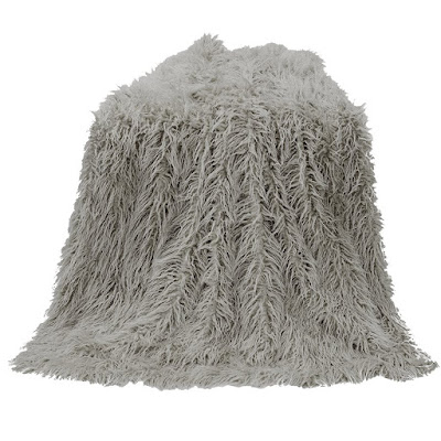 Gray Mongolian Fur Throw by HiEnd Accents