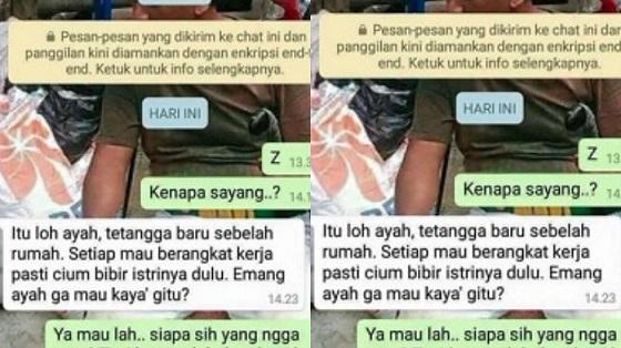 Beredar Chat Istri Minta Dicium Manja Ini Bikin Ngakak Netizen
