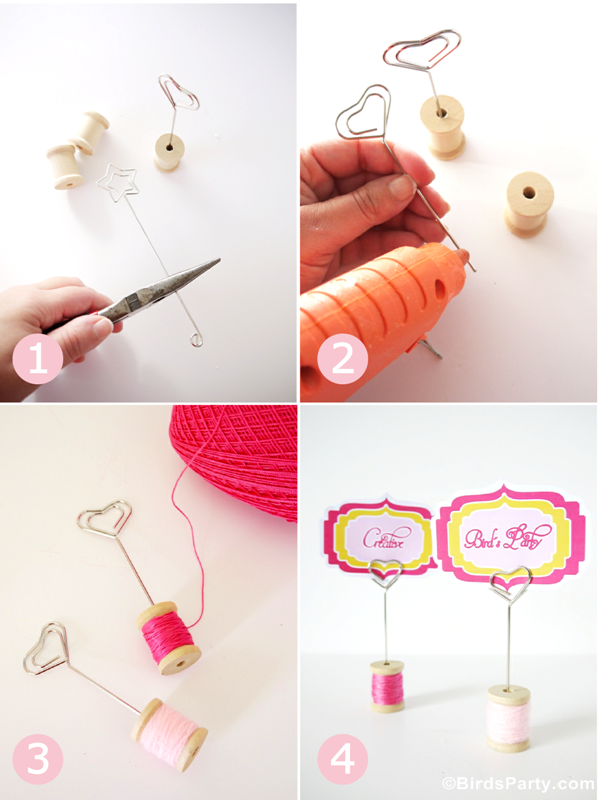DIY Cotton Reel Place-Card Holders - BirdsParty.com