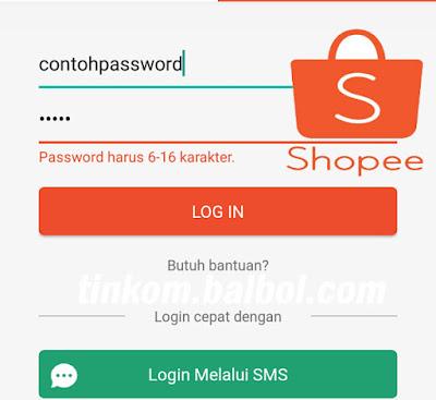 Contoh password shopee
