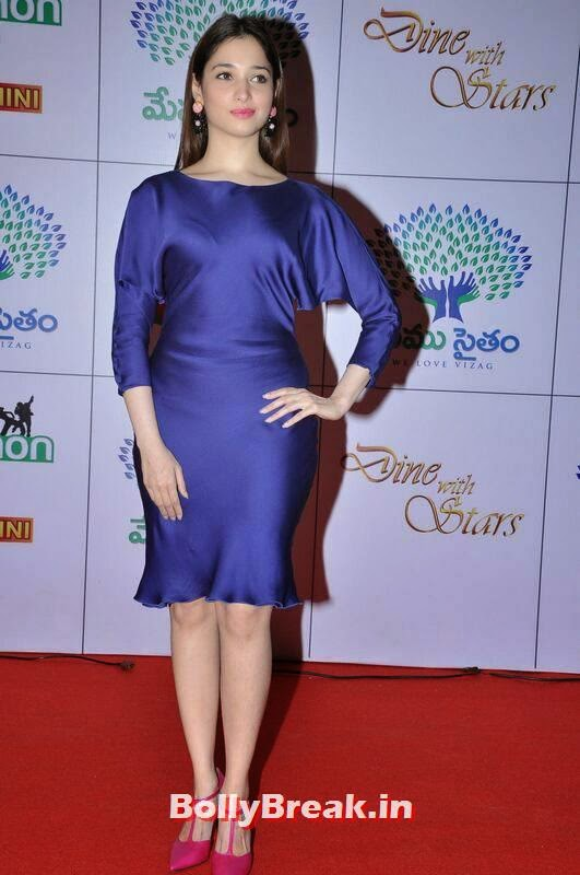 Tamanna Stills, Tamanna Bhatia Hot Pics in Blue Dress