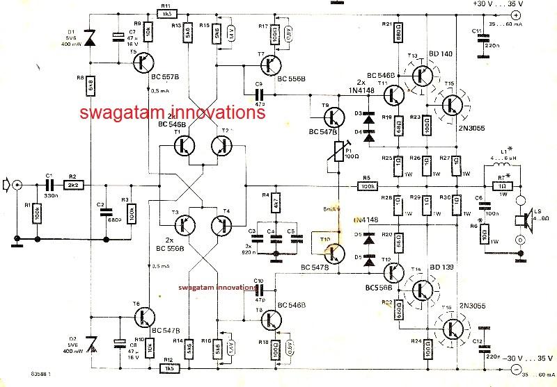 Hi-Fi 100 Watt Amplifier Circuit Using 2N3055 Transistors - Mini
