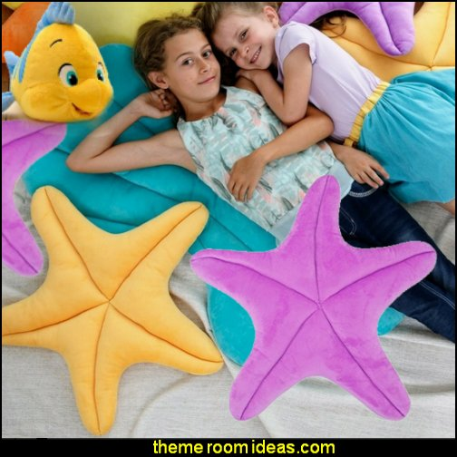 Starfish Pillows  underwater bedroom ideas - mermaid bedroom decor - under the sea theme bedrooms - mermaid theme bedrooms - sea life bedrooms - Little mermaid princess Ariel - mermaid bedding - Disney's little mermaid - clamshell bed -  mermaid murals - mermaid wall decal stickers - Sponge Bob theme bedrooms -