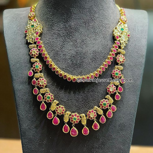 Two Rows Ruby Drops Floral Necklace