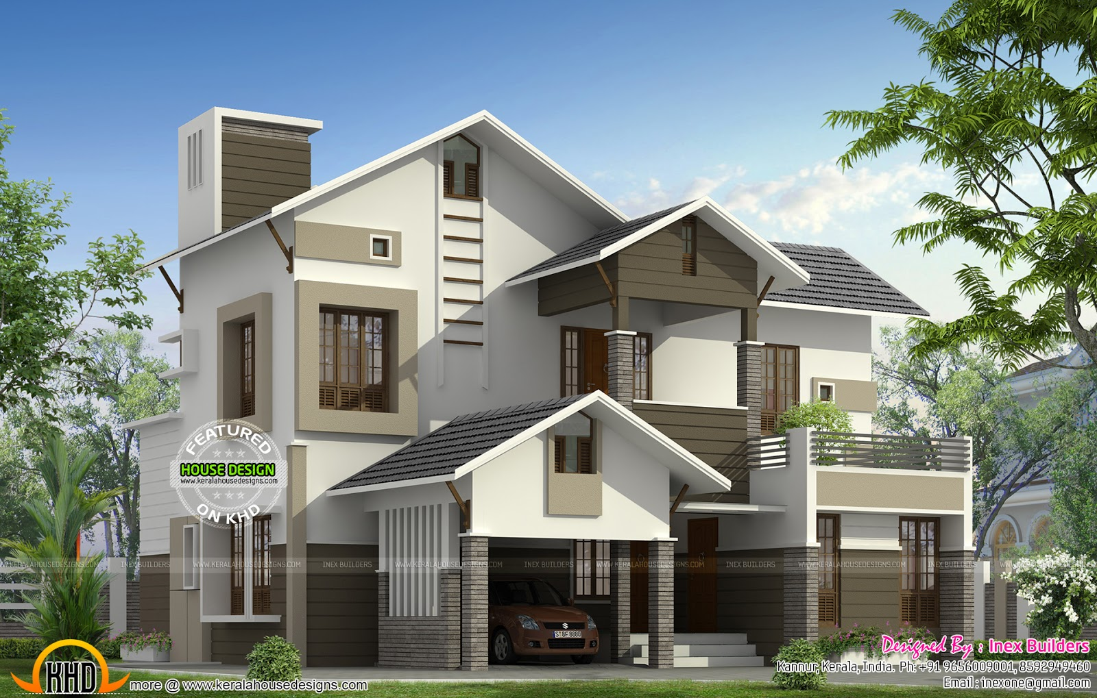 Modern Mix Sloping Roof 2100 Sq Ft Home Design Simple