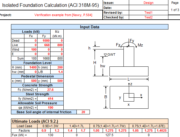 Download Isolated Foundation Design and Analysis Excel Sheet