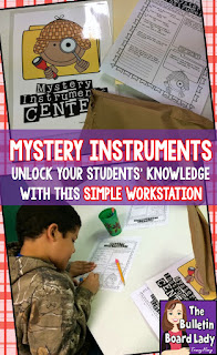 Mystery Instruments Music Workstation is a great way to get students thinking about the characteristics of instruments.  Simple idea that can be used for several grade levels. FUN!